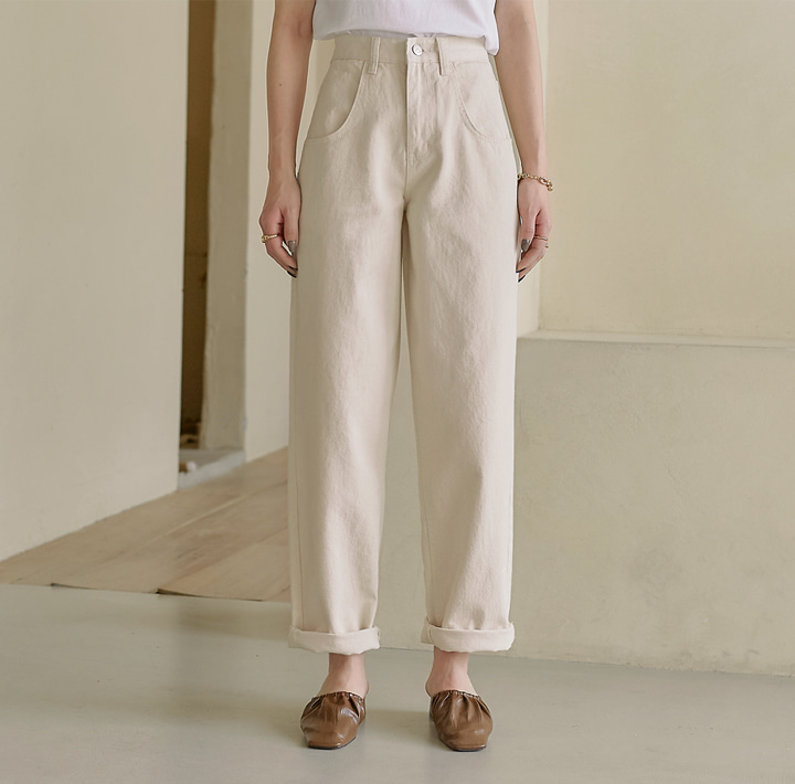 [BOTTOM] TERO ROLL UP WIDE COTTON PANTS