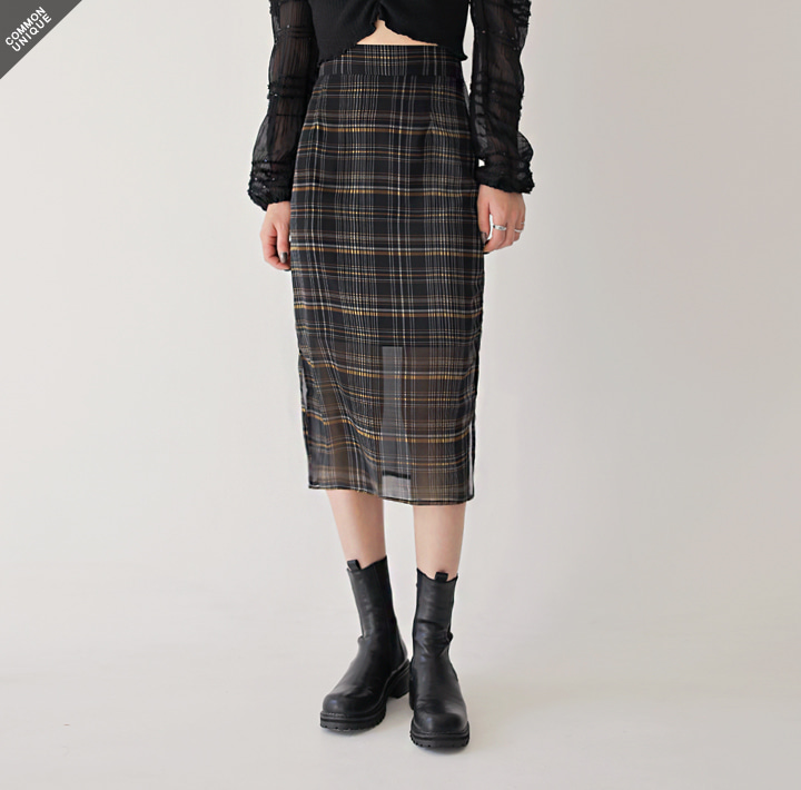 [SKIRT] FREEZE CHECK SLIT CHIFFON MIDI SKIRT