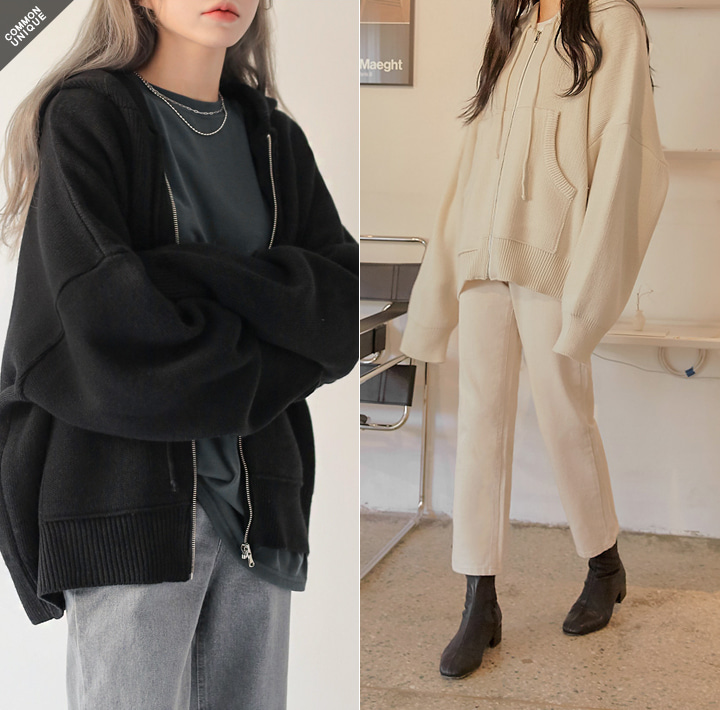 [OUTER] WARM OVER FIT KNIT HOOD ZIPUP