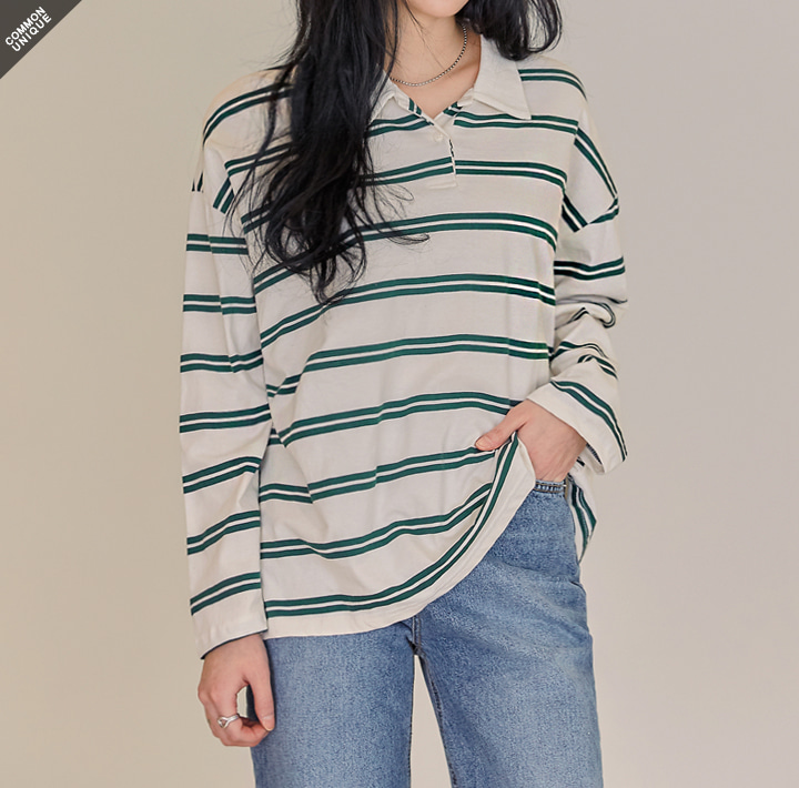 [TOP] BROD DOUBLE STRIPE COLLAR T