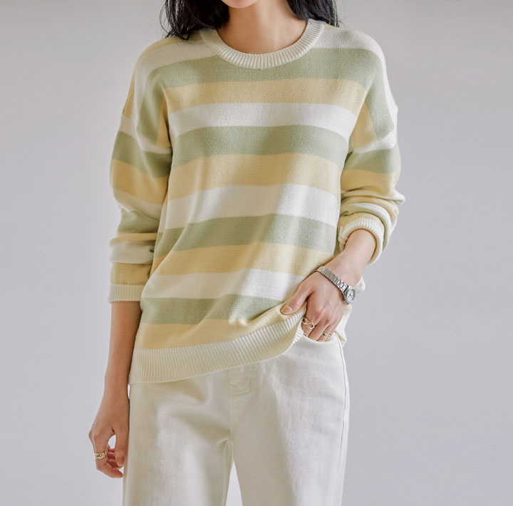 [TOP] TOLER COLORING STRIPE ROUND KNIT