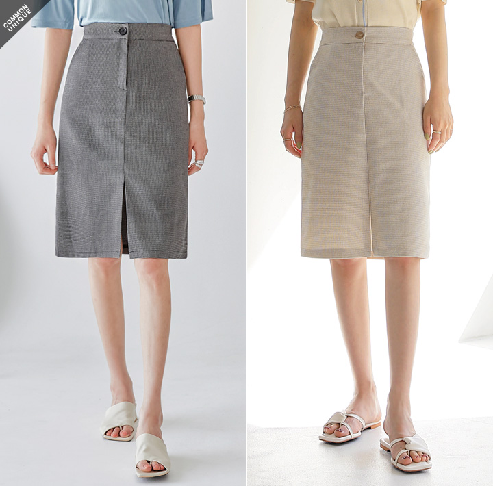 [SKIRT] DOVER CHECK SLIT BANDING SKIRT