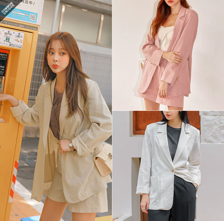 [OUTER] LANDO LINEN SET-UP SINGLE JACKET