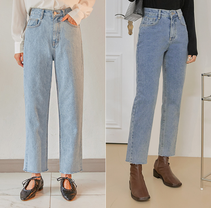 [BOTTOM] DOU CUTTING STRAIGHT DENIM PANTS