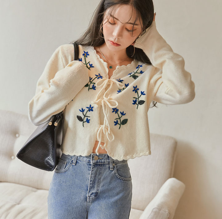 [OUTER] ELLON FLOWER NEEDLE CARDIGAN SET