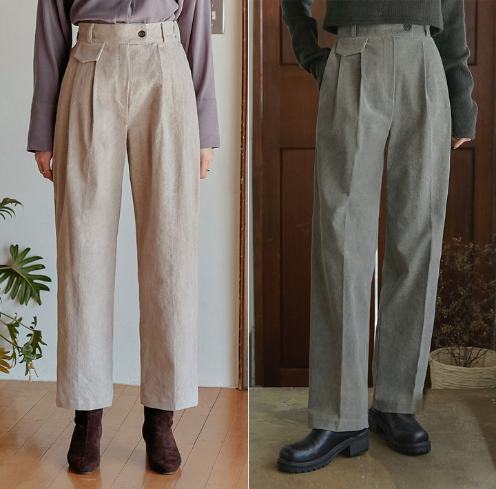 [BOTTOM] CORDUROY PINTUCK BANDING PANTS