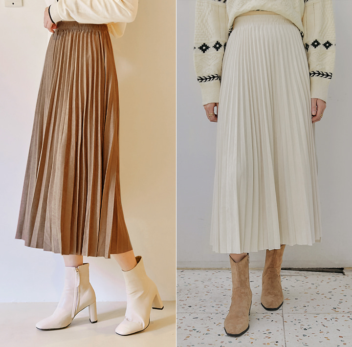 [SKIRT] CUDDLY SUEDE PLEATS LONG SKIRT
