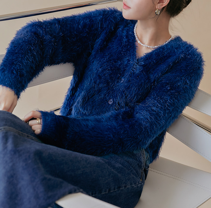 [OUTER] MODRIAN FUR KNIT CARDIGAN