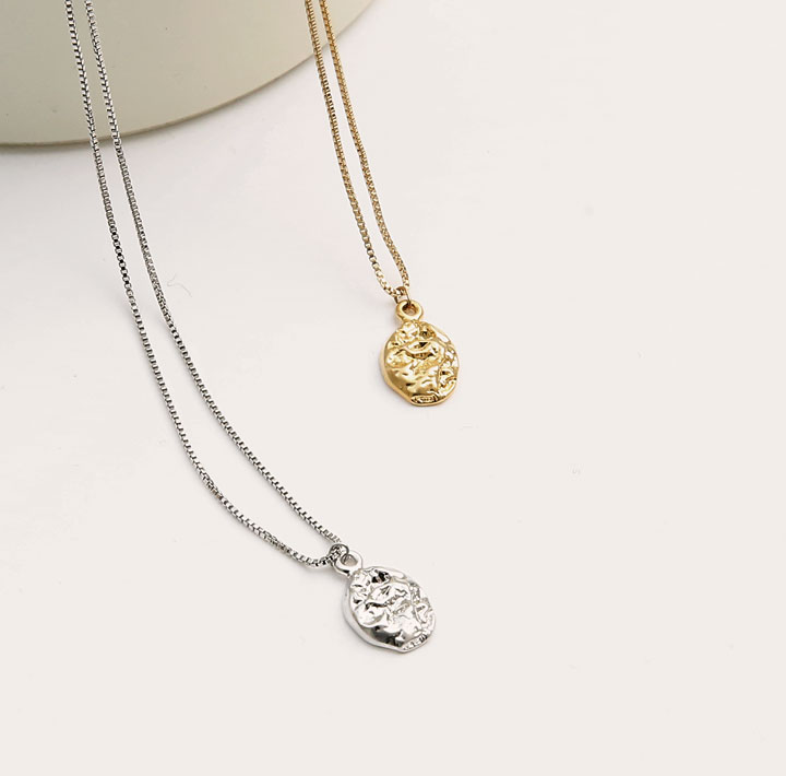[JEWELRY] WRINKLE OVAL PENDANT NECKLACE