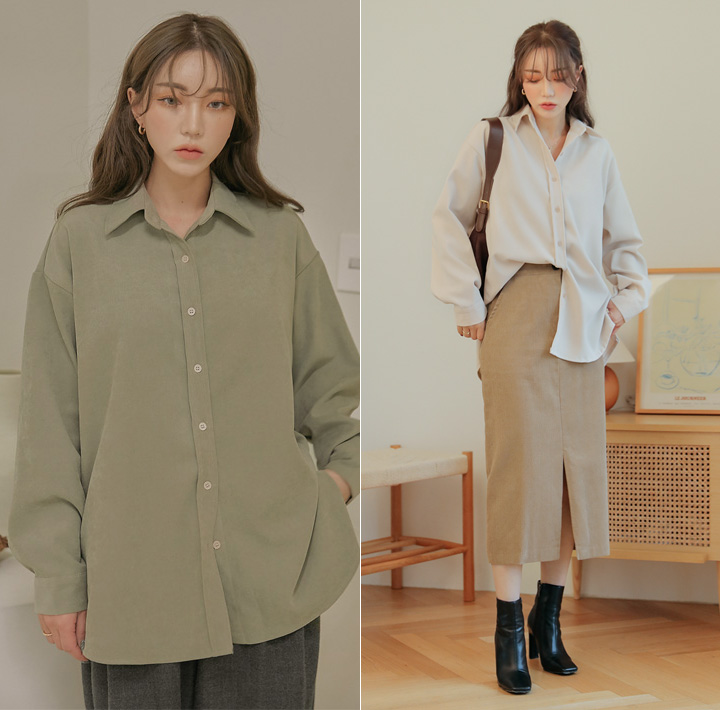 [TOP] COST PEACH SLIT BOXY FIT SHIRTS