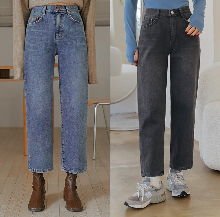 [BOTTOM] PLU NAPPING SEMI WIDE DENIM PANTS