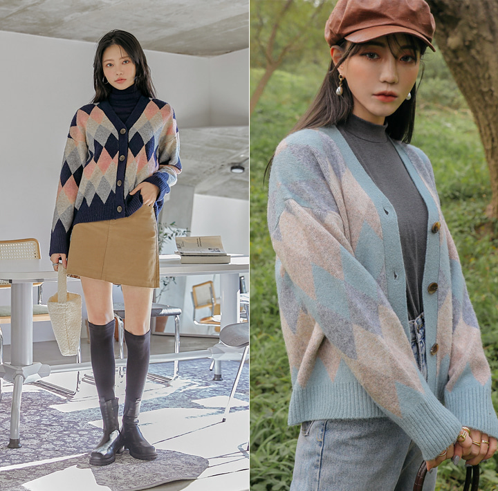 [OUTER] EVER ARGYLE KNIT CARDIGAN WITH CELEBRITY _  스타트업 수지 착용