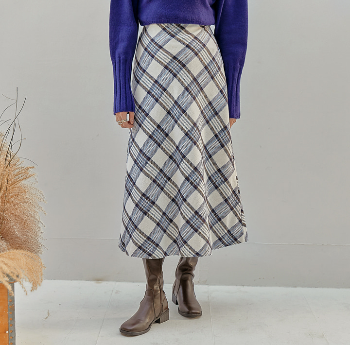 [SKIRT] JOAN WOOL CHECK FLARE LONG SKIRT