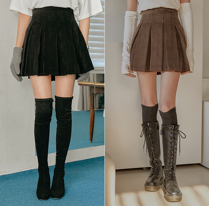 [SKIRT] GEORGIA CORDUROY PLEATS MINI SKIRT WITH CELEBRITY _  한지민, 이나은 착용