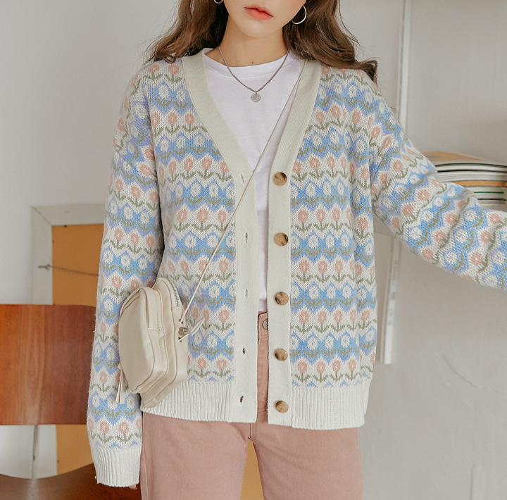 [OUTER] POPORI FLOWER KNIT CARDIGAN