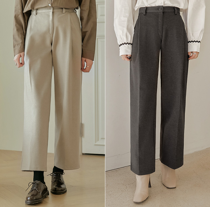 [BOTTOM] POIN NAPPING PINTUCK WIDE SLACKS