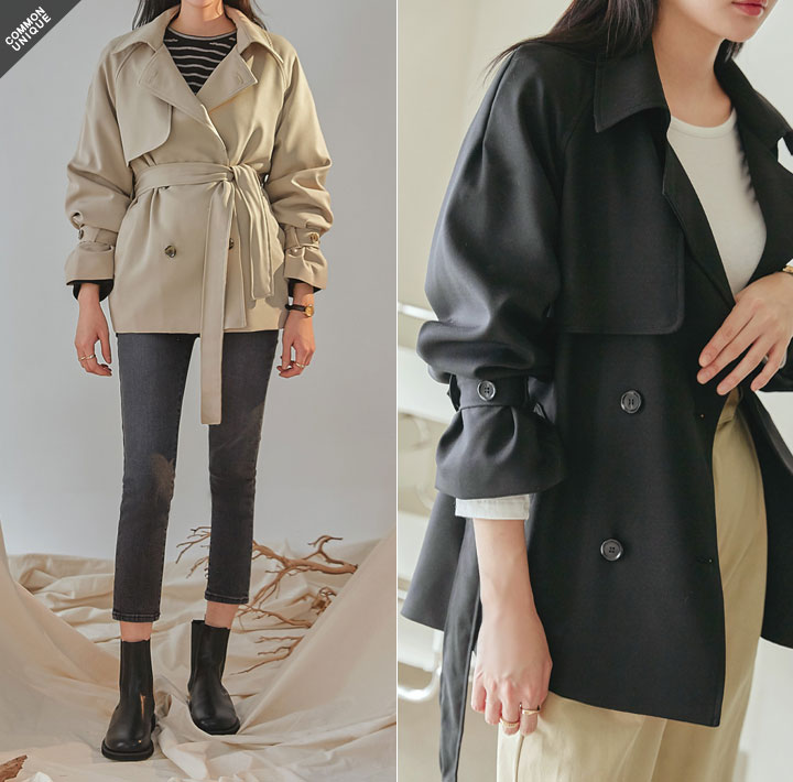 [OUTER] DOUBLE HALF TRENCH COAT
