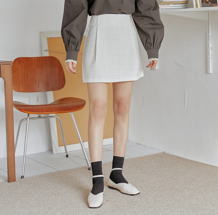 [SKIRT] KANIA PINTUCK TWEED MINI SKIRT