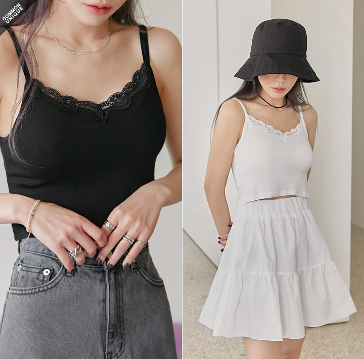 [TOP] REILY LACE CROP SLEEVELESS