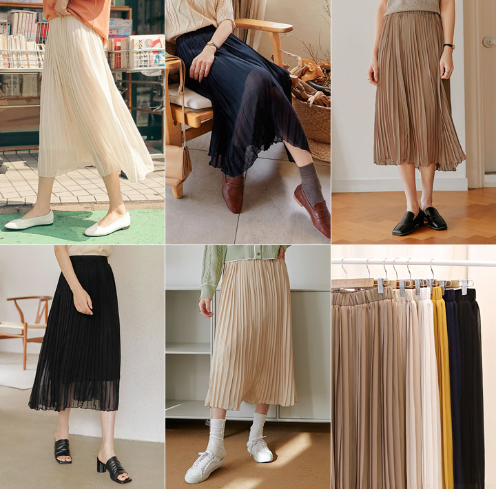 [SKIRT] SHIFFON PLEATS LONG SKIRT