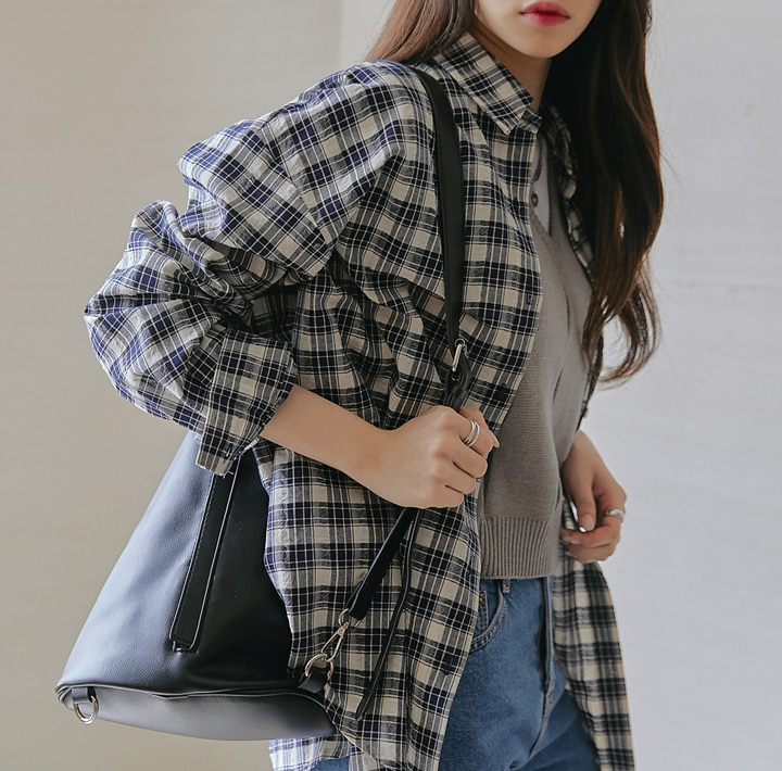 [TOP] RAMEIN POCKET CHECK BOXY SHIRTS
