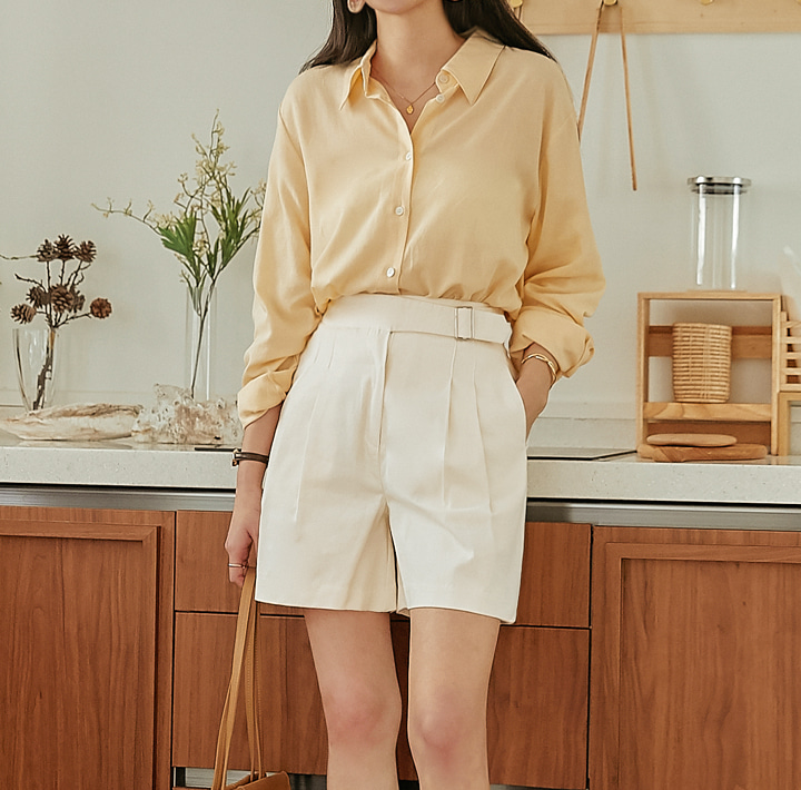 [TOP] ALLAIN LINEN BASIC LOOSE FIT SHIRTS