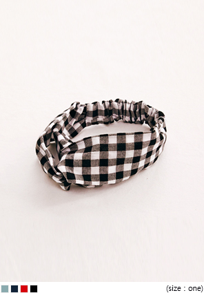 [ACC] GINGHAM CHECK PATTERN TURBAN