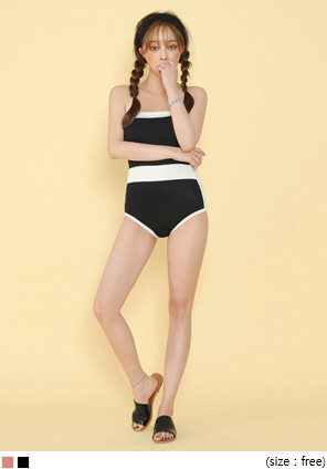[SWIM WEAR] SIMPLE LINE TUBE TOP SWIMSUIT