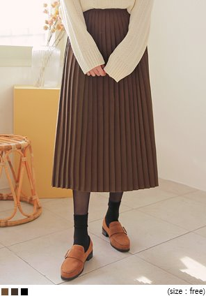 [SKIRT] PRIM SUEDE PLEATS LONG SKIRT