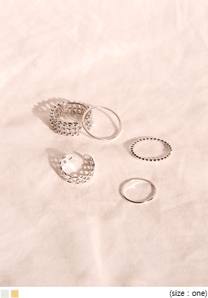 [JEWELRY] SENSUAL LAYERED RING 5 SET