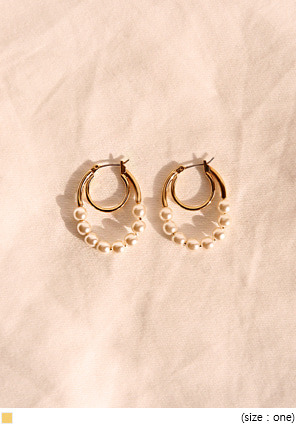 [JEWELRY] LENT PEARL GOLD 2 RING EARRING