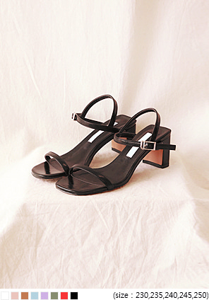 [SHOES] 8 COLOR SQUARE STRAP HEEL