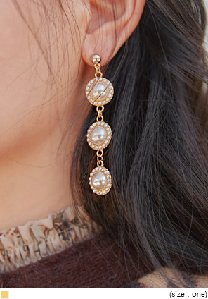 [JEWELRY] PEARL BALL DROP EARRING