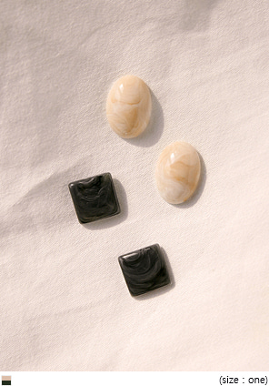 [JEWELRY] AMOR 2 TYPE MARBLE EARRING SET