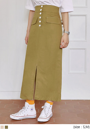[SKIRT] LATEE RAYON STITCH SLIT LONG SKIRT
