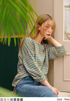 [TOP] RAY CITY STRIPE LOOSE FIT T