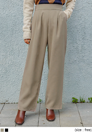 [BOTTOM] COMBO SET-UP PINTUCK WIDE SLACKS