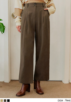 [BOTTOM] CLODY BANDING COTTON WIDE PANTS