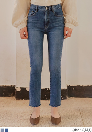 [BOTTOM] LIRA SLIM STRAIGHT DENIM PANTS