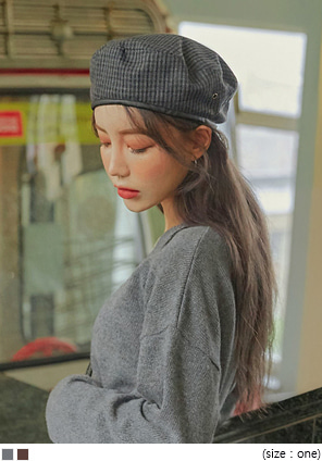 [ACC] CLASSIC LEATHER LINE CHECK BERET