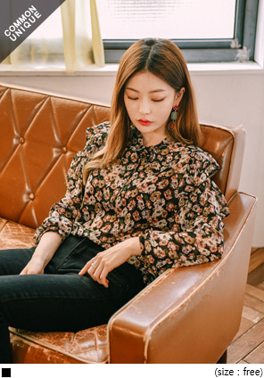 [TOP] MUSE FLOWER CHIFFON RUFFLE BLOUSE