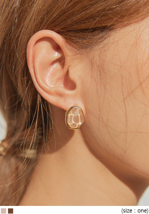[JEWELRY] BRILL COLOR STONE GOLD EARRING