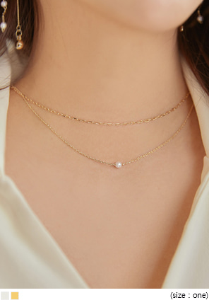 [JEWELRY] MINIMAL PEARL LAYERED NECKLACE