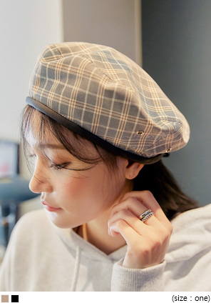 [ACC] HOTIN LEATHER LINE CHECK BERET