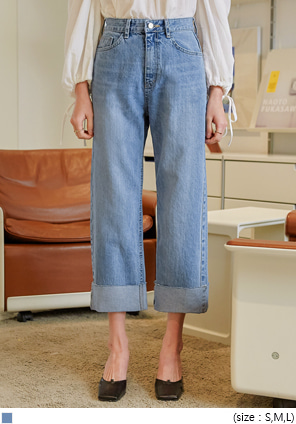 [BOTTOM] LOIPE ROLL UP WIDE DENIM PANTS