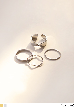 [JEWELRY] TWIST WAVE RING SET