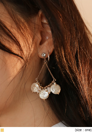 [JEWELRY] ANTIQUE FLAT PEARL EARRING
