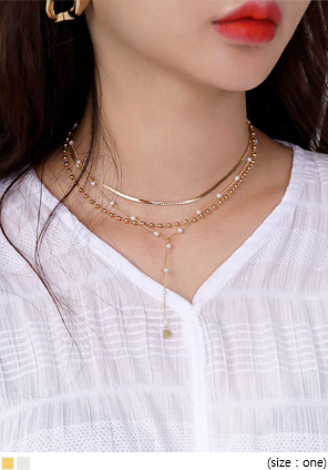 [JEWELRY] MIX 3 STRAP PEARL NECKLACE