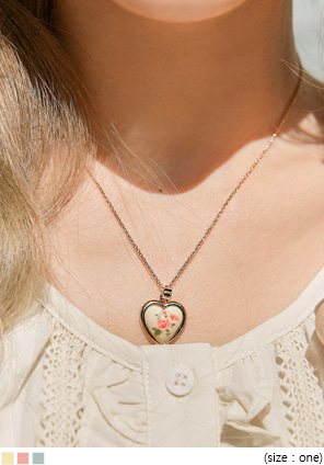 [JEWELRY] CHROM FLOWER HEART NECKLACE