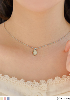 [JEWELRY] TEARD STONE SILVER NECKLACE
